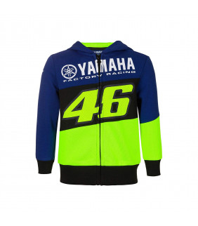 Sweat à Capuche Zip Enfant VR46 Yamaha Factory M1 Racing Officiel MotoGP Valentino Rossi