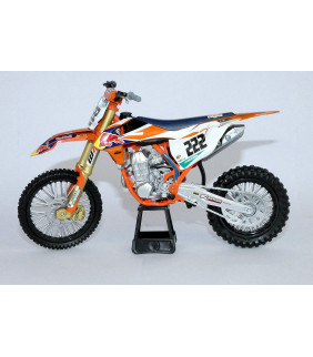 Moto Miniature New Ray KTM 450 SX-F Antonio Cairoli Nr 222 Red Bull Supercross 1/10 Modell