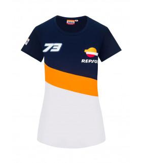 T-shirt Femme Alex Marquez 73 Honda Repsol Racing Officiel MotoGP
