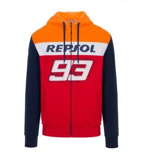Sweat a Capuche Zip Homme Honda Repsol Dual Marc Marquez 93 Big 93 Officiel MotoGP