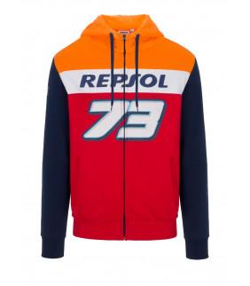 Sweat a Capuche Zip Homme Honda Repsol Dual Alex Marquez 73 Big 73 Officiel MotoGP