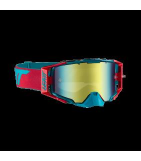 Masque LEATT Velocity 6.5 Iriz - rouge/bleu turquoise - Ecran bronze 22% Officiel Motocross/VTT/BMXDH