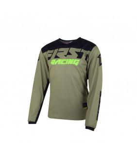 Maillot First Racing Data Evo Officiel Motocross - kaki/noir/fluo