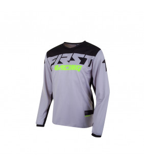 Maillot First Racing Data Evo Officiel Motocross - gris/noir/fluo