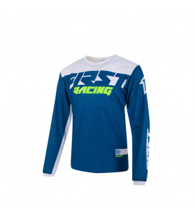 Maillot First Racing Data Evo Officiel Motocross - denim/blanc/fluo