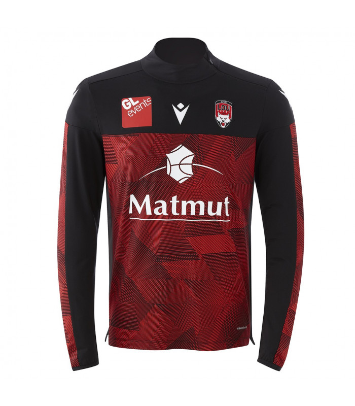Sweat 1/4 Zip Homme LOU Rugby Rugby Entrainement Strip Officiel Lyon