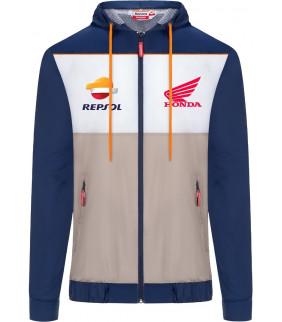 Veste imperméable à capuche Zip Homme Repsol Honda Officiel MotoGP