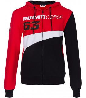 Sweat a Capuche Ducati Corse Pecco Bagnaia 63 Officiel Moto GP